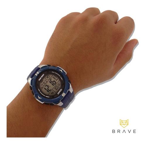 relógio masculino azul mormaii digital prova dágua original