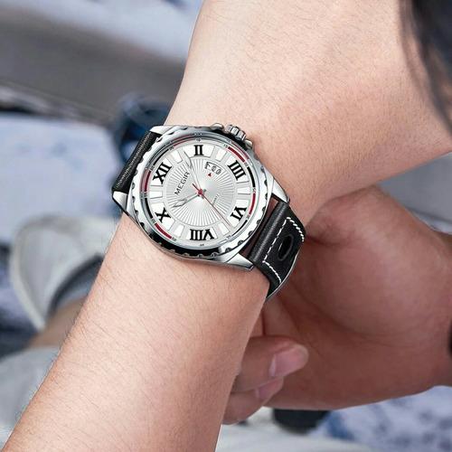 relógio masculino barato couro 2019 megir analógico romanos