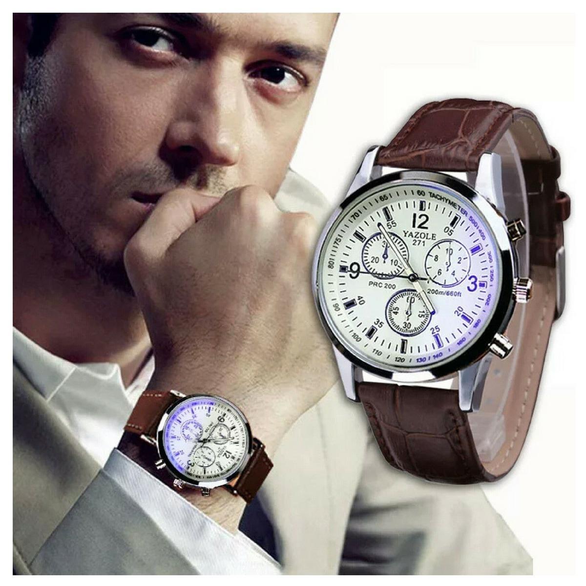 ae0d20b556a relógio masculino barato couro pulseira ! marca yazole -novo. Carregando  zoom.