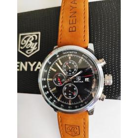 Relógio Masculino Benyar Couro Genuíno Cronógrafo Funcional