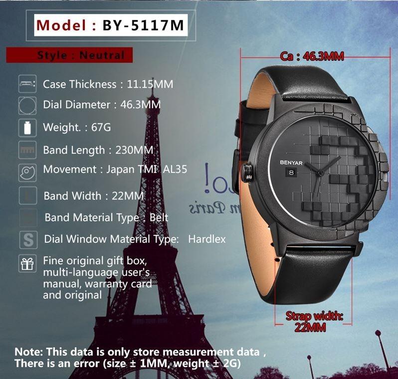 4ac26ae9010 Relógio Masculino Benyar Homem Pulseira De Couro Luxo - R  190
