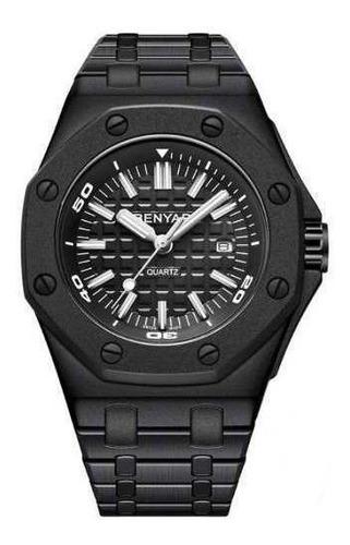 relógio masculino benyar limited preto pulseira de aço