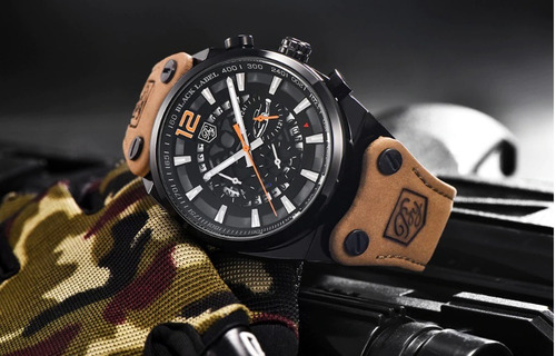 relógio masculino benyar luxo legitimo militar+brinde