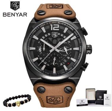aa4587a7606 Relógio Masculino Benyar Militar Pulseira De Couro + Brinde - R ...