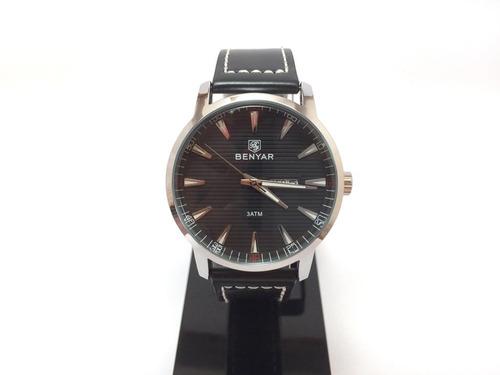 relógio masculino benyar pulseira de couro hardlex by-5145