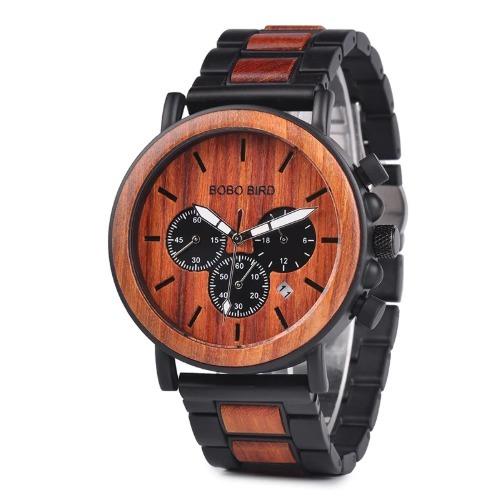 322059c5554 Relógio Masculino Bobo Bird Caixa madeira + Brinde Carteira - R  189 ...