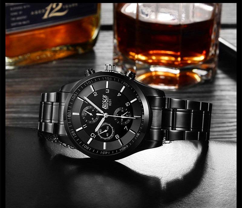 c34faa7c09275 relogio masculino bosck de luxo pulseira aço aprova d agua. Carregando zoom.