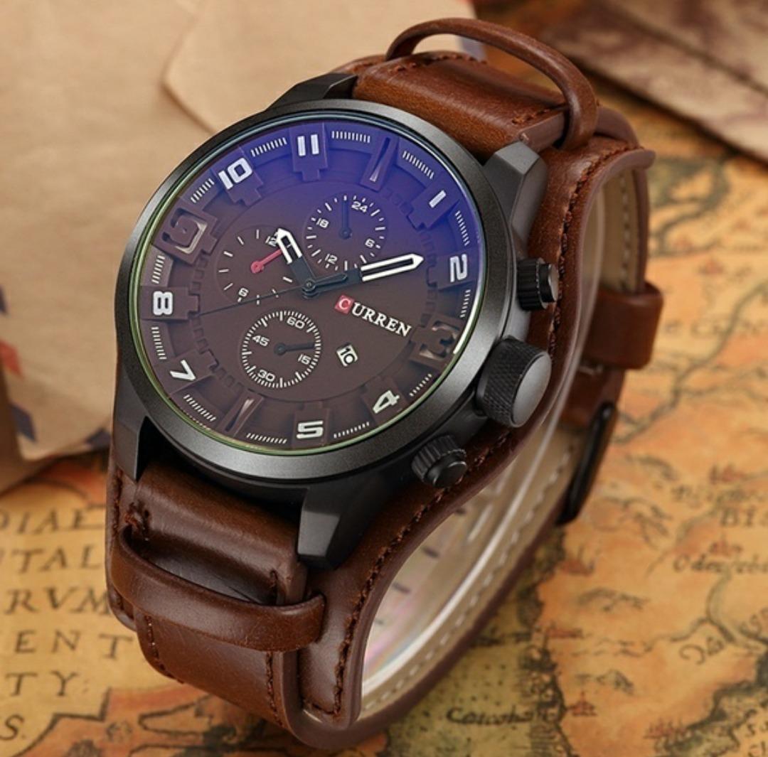 7d21f99184af0 relógio masculino bracelete curren original pulseira couro. Carregando zoom.