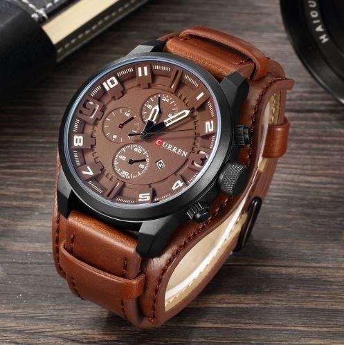 ec8b41a67d2 Relógio Masculino Bracelete Curren Original Pulseira Couro - R  109 ...