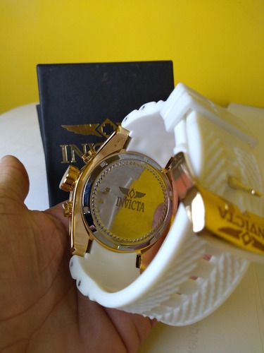 relógio masculino branco com dourado com caixa preto