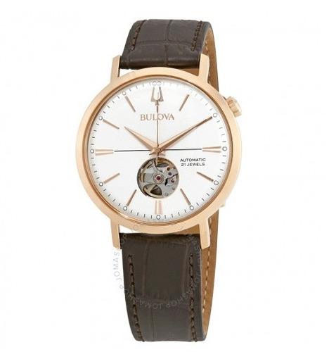 relógio masculino bulova marrom/branco/dourado automático