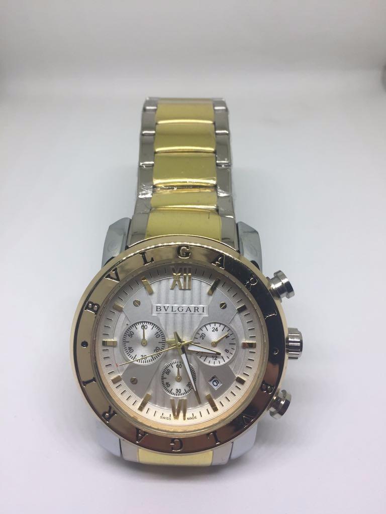 a64442140d6 relógio masculino bvlgari prata e dourado réplica. Carregando zoom.