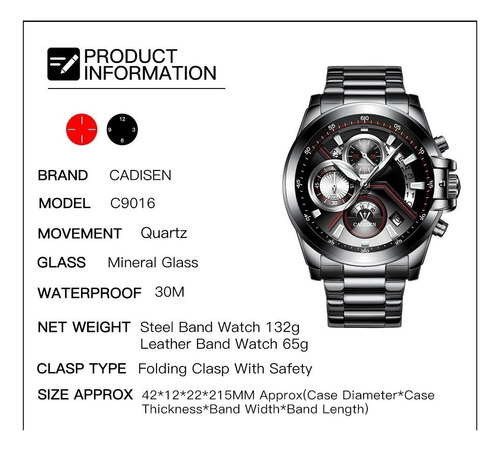 relógio masculino cadisen a prova d'água + frete grátis