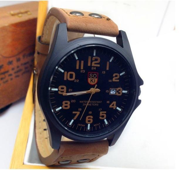 d4a4738a757 Relógio Masculino Calendário Esportivo Couro Marrom Barato - R  39 ...
