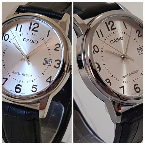 b8f793195b4 relógio masculino casio couro preto visor prata números data. Carregando  zoom... relógio masculino casio