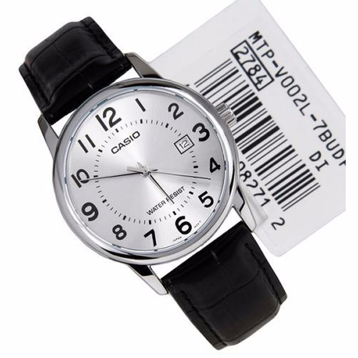 5231cf06250 relógio masculino casio couro preto visor prata números data. Carregando  zoom.