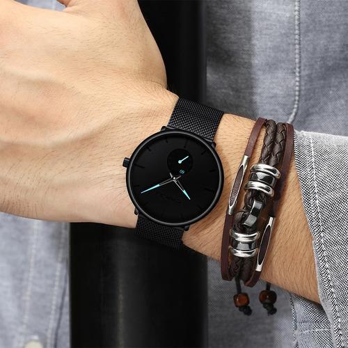 relógio masculino casual esportivo luxo crrju a prova d'água