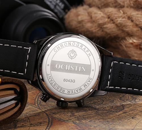 relógio masculino casual pulseira de couro prova d'água