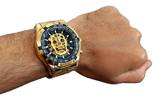 relógio masculino caveira automático corda aço inox dourado