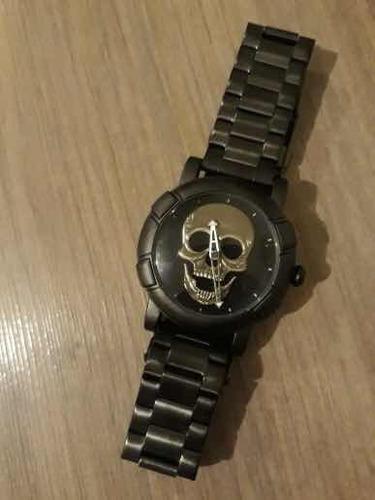 relógio masculino caveira dourada original importado