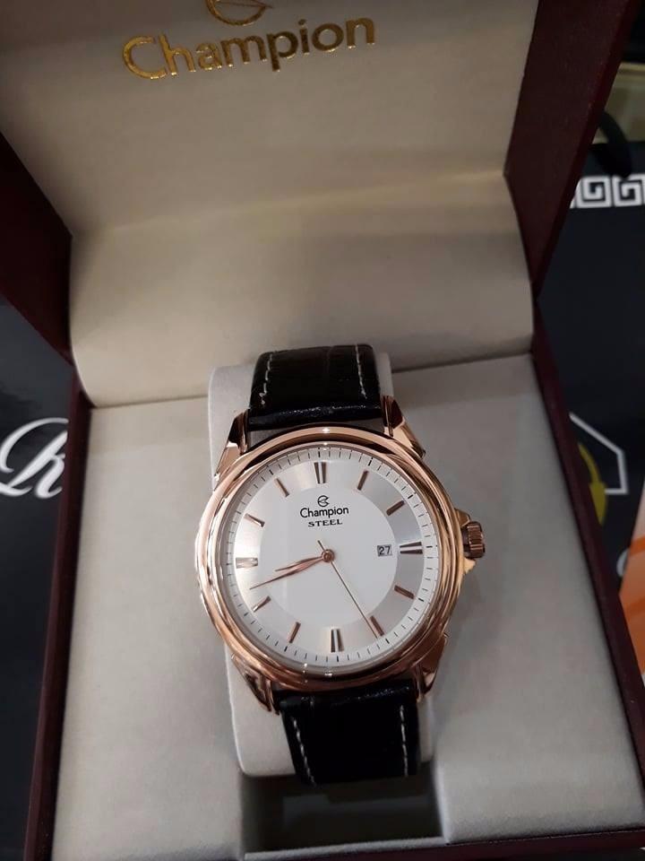 f2f96b5b627 Relógio Masculino Champion Steel Rosê Pulseira De Couro - R  208
