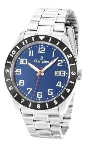 relógio masculino champion ca31435a /  prata com azul