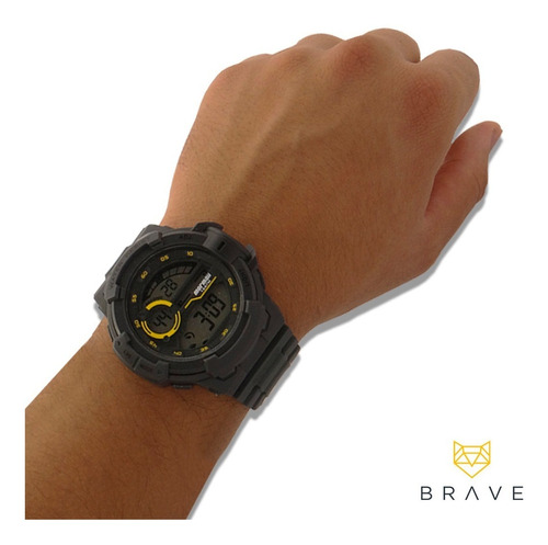 relógio masculino cinza mormaii digital prova dágua original
