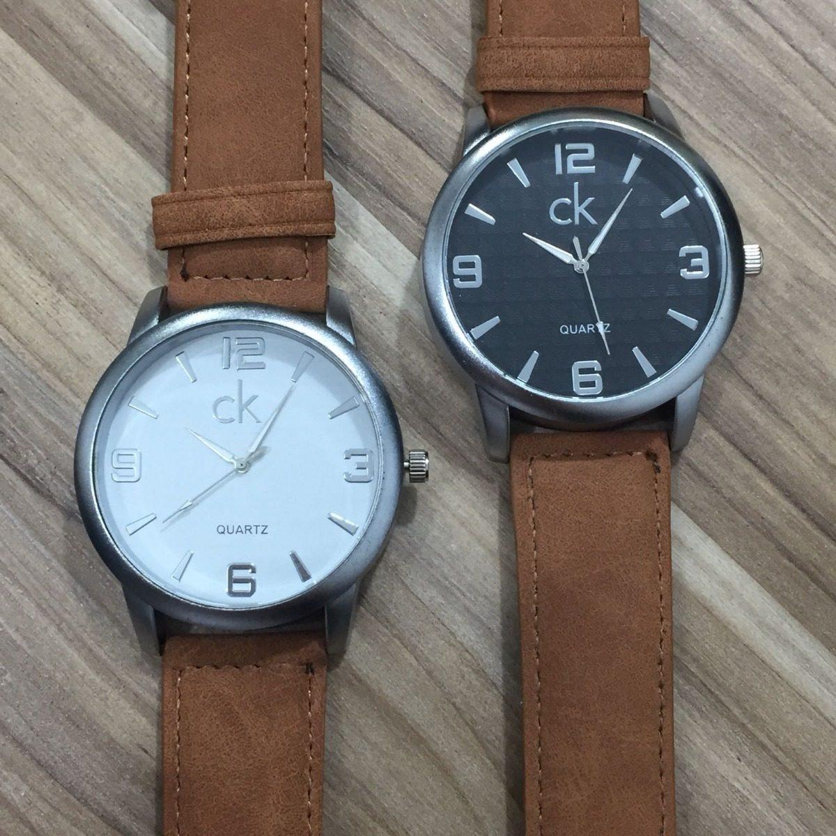 649d67d9379 Relógio Masculino Ck Pulseira Couro Barato + Caixa + Brinde - R  49 ...