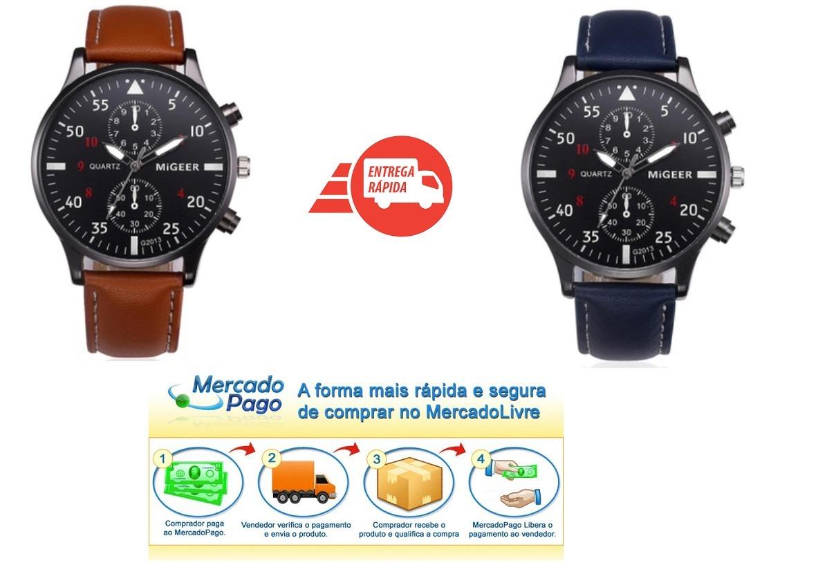 e63081b83dc relógio masculino clássico social analógico barato em couro. Carregando  zoom.