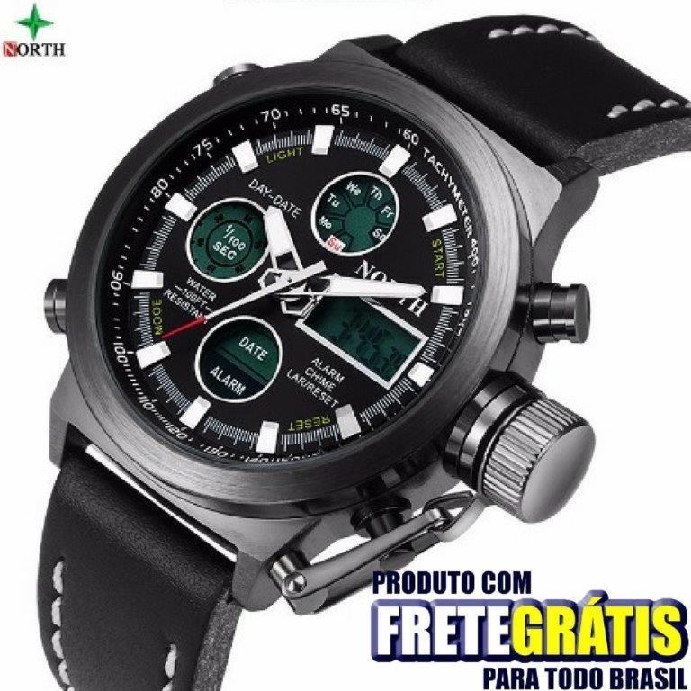 cf8cacb7af4 Relógio Masculino Com Digital E Analógico Aprova Dágua Couro - R  199