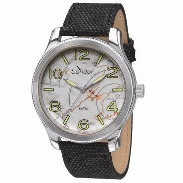 relógio masculino condor analógico, preto,pulseira couro 50m