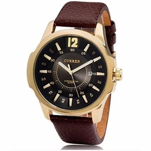 relógio masculino couro barato luxo curren social
