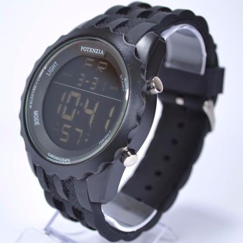 relógio masculino cronômetro luz digital potenzia preto