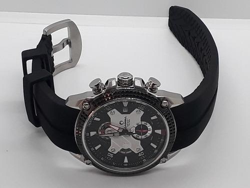 relógio masculino cronógrafo, calendário, função 24 horas, caixa em aço inoxidável ( original à pronta entrega com nf )
