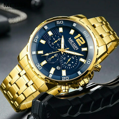 relógio masculino cronógrafo dourado megir analógico