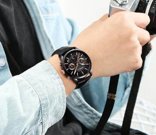 relógio masculino crrju original cronógrafo dia namorados
