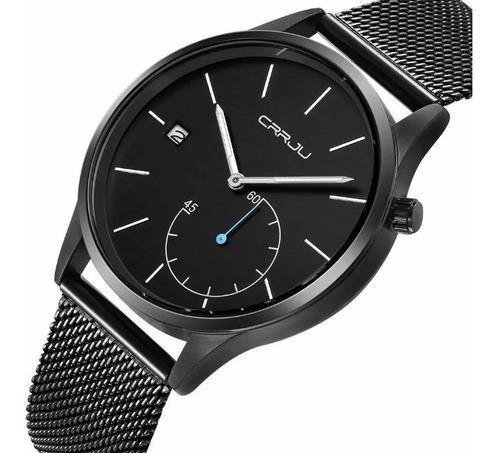 relógio masculino crrju original social esportivo casual de luxo calendário ponteiro de segundo funcional a prova d'água