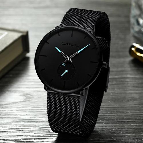 relógio masculino crrju preto original militar analógico top