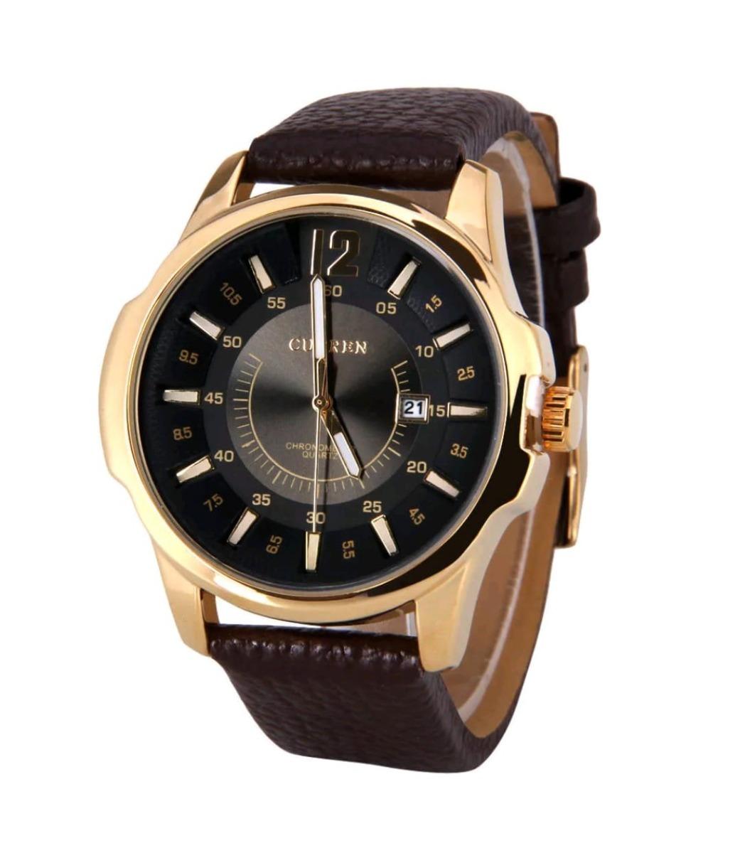 6d9f04391ed relógio masculino curren 8123 couro barato social dourado. Carregando zoom.