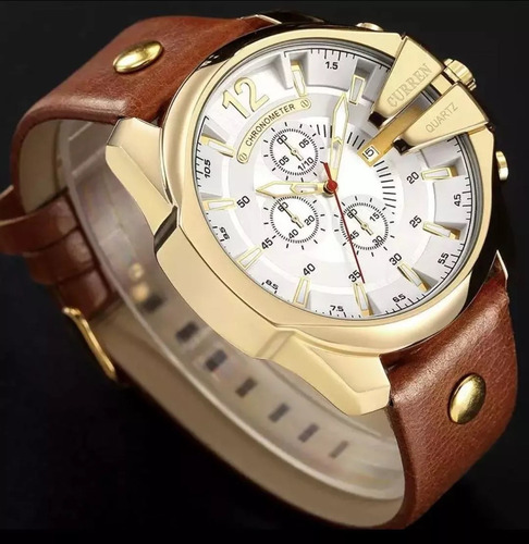 relógio masculino curren 8176 grande gold + brown original