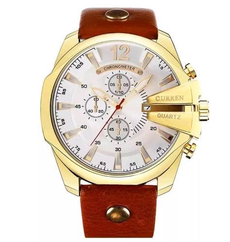 relógio masculino curren 8176 original casual luxo visor big