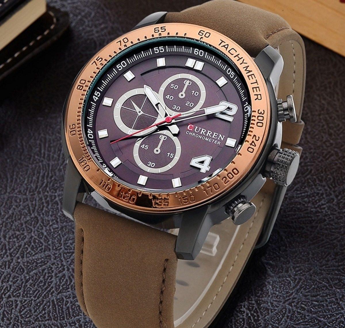 a76f4a70eca Relógio Masculino Curren 8190 Pulseira Couro Quartzo Barato - R  85 ...