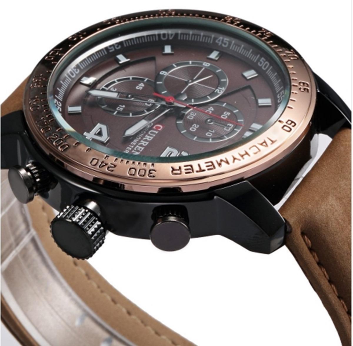 202cd32f21c Relógio Masculino Curren 8190 Pulseira Couro Quartzo Barato - R  85 ...