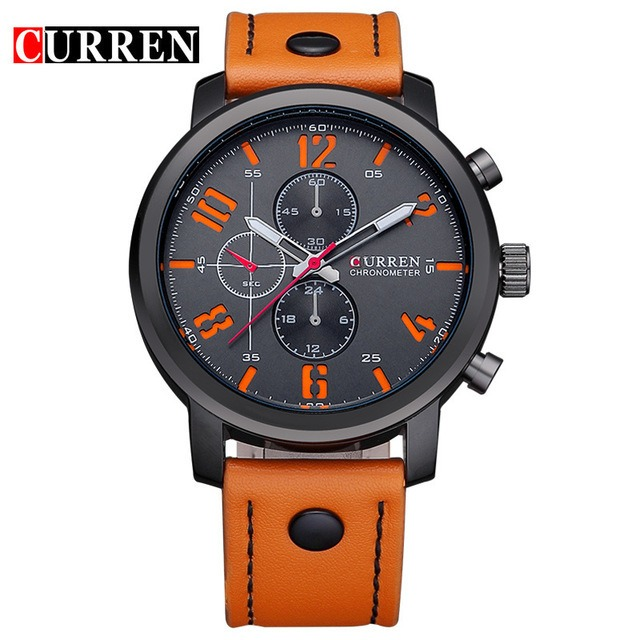 bf40cf64a84 Relógio Masculino Curren 8192 Preto Pulseira Couro Laranja - R  84 ...