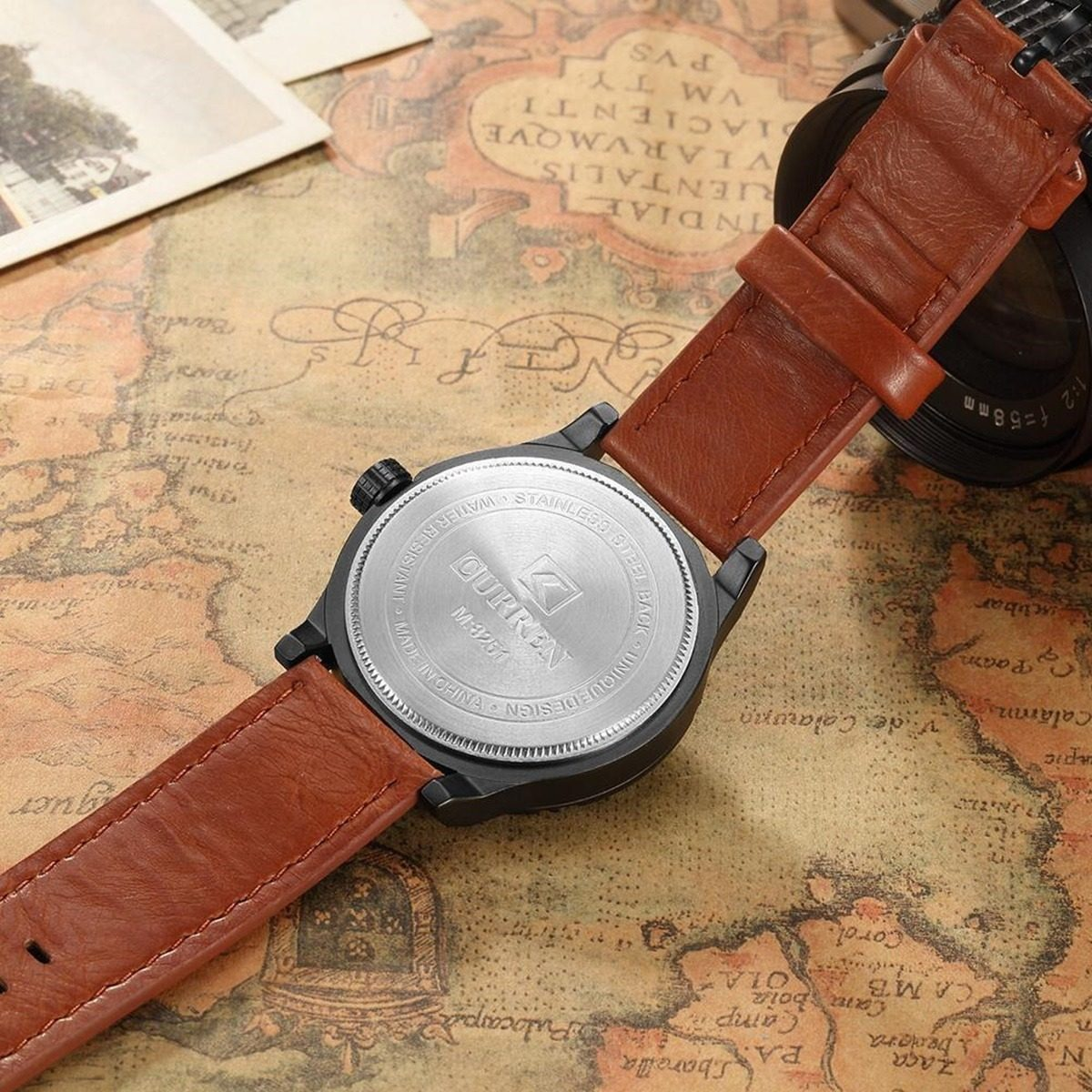 10e6bfeee7ddd Relógio Masculino Curren 8251 Preto marrom Nf+brinde - R  135,00 em ...
