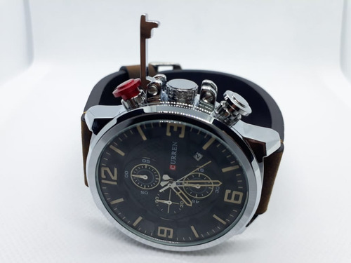 relógio masculino curren 8278 funcional com cronômetro brown