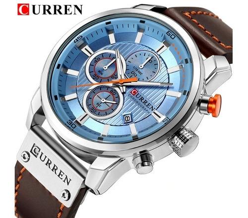 relógio  masculino curren 8291 analógico pulseira de couro