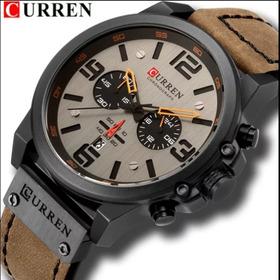 Relógio Masculino Curren 8314 Pulseira De Couro Prova D'água