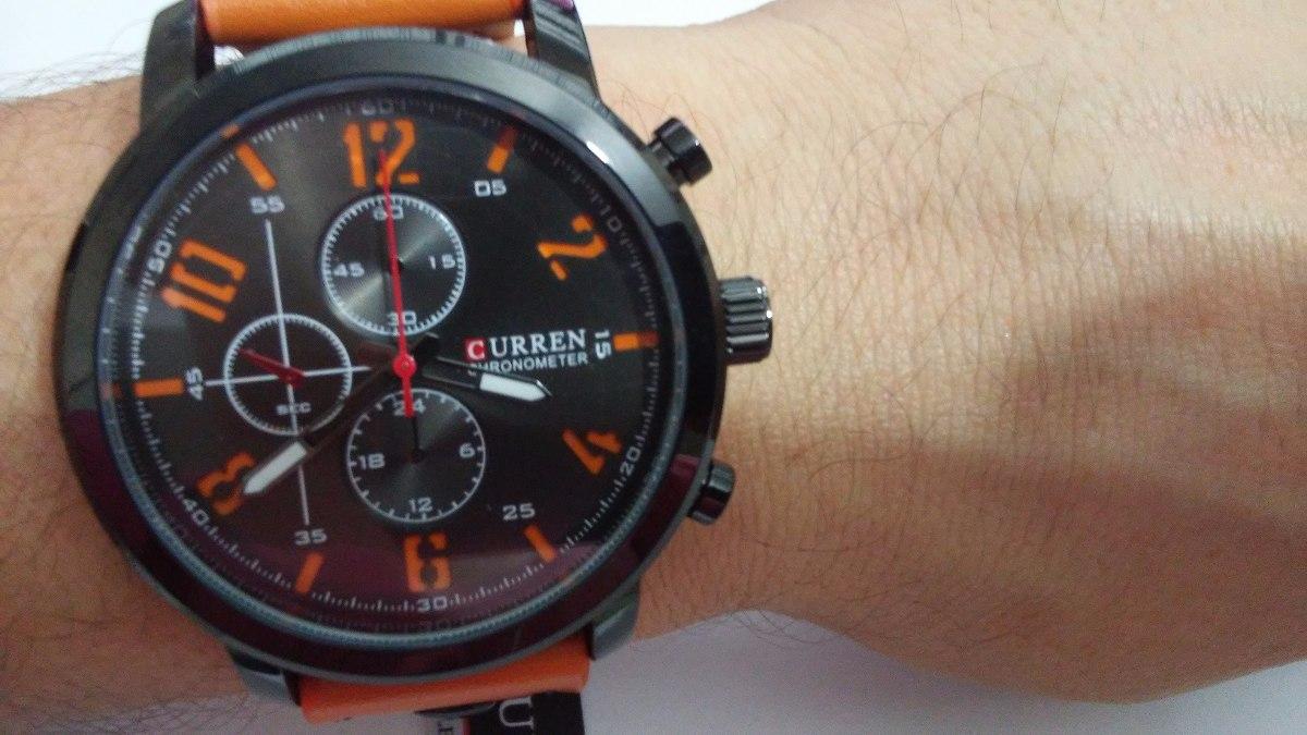 14265977434 Relógio Masculino Curren Pulseira De Couro Esportivo Militar - R ...