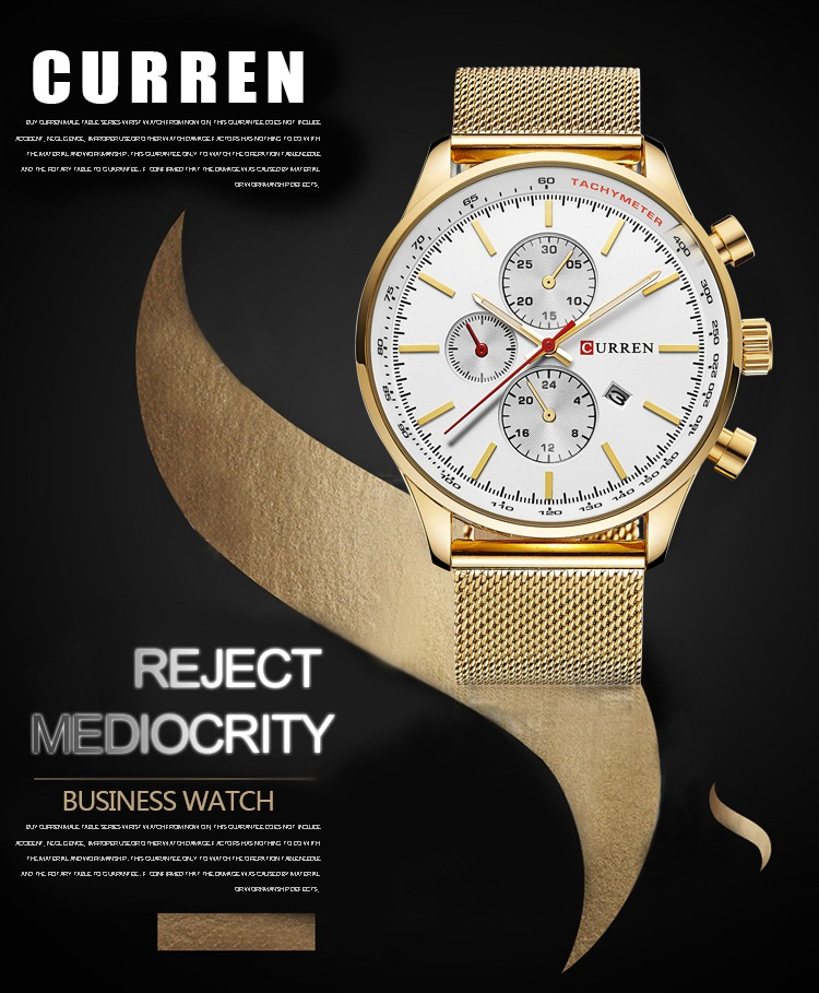 0942d91e081 Relógio Masculino Dourado Luxo Curren Original - R  100